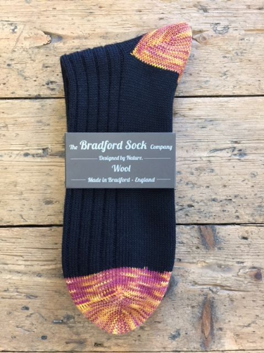 Men's Wool Socks - Black & Claret and Amber  - Machine Washable.